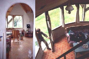 Holzständerbauweise gemischt mit Gagné-Technik (Strohballen ohne Versatz mit Zement aufgemauert): Blick in den Innenraum des von Pascal Thepaut errichteten Gebäudes in der Bretagne