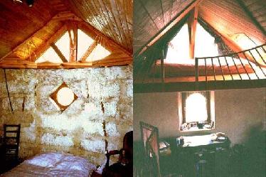 Ein Blick auf die unverputzte Strohballenwand im Schlafzimmer (links) zeigt die Gagné-Technik. Die Bauweise ist übrigens wegen der Wärmebrücken durch das Zementgitter umstritten.