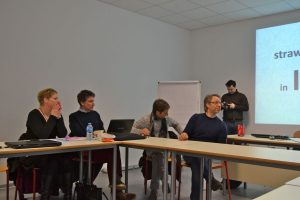 Audrey van den Heuvel, Guilemette Marce, Manas Mewlliwa and Carlo Micheletti, in the back Piotr Bronicki